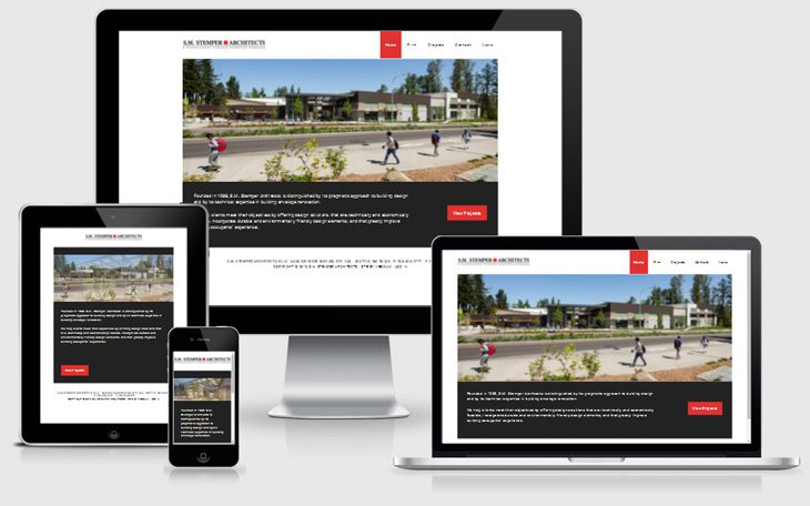 Various views of SM Stemper website on different devices