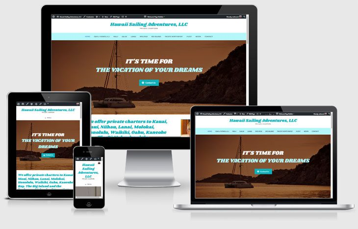 Photo of mobile responsive views of Hawaii Sailing Adventures website by Webcami