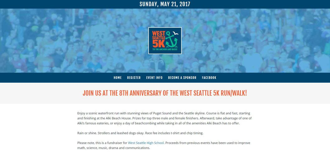 West Seattle 5K website by Webcami