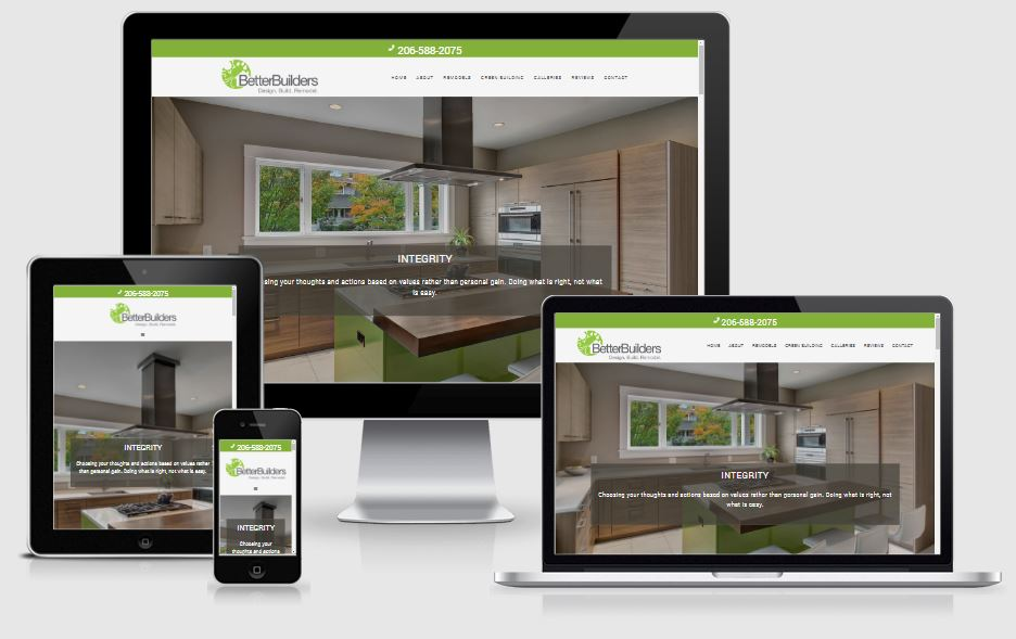 Better Builders website displayed on different screen sizes