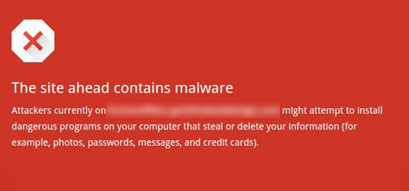 Malware warning in browser