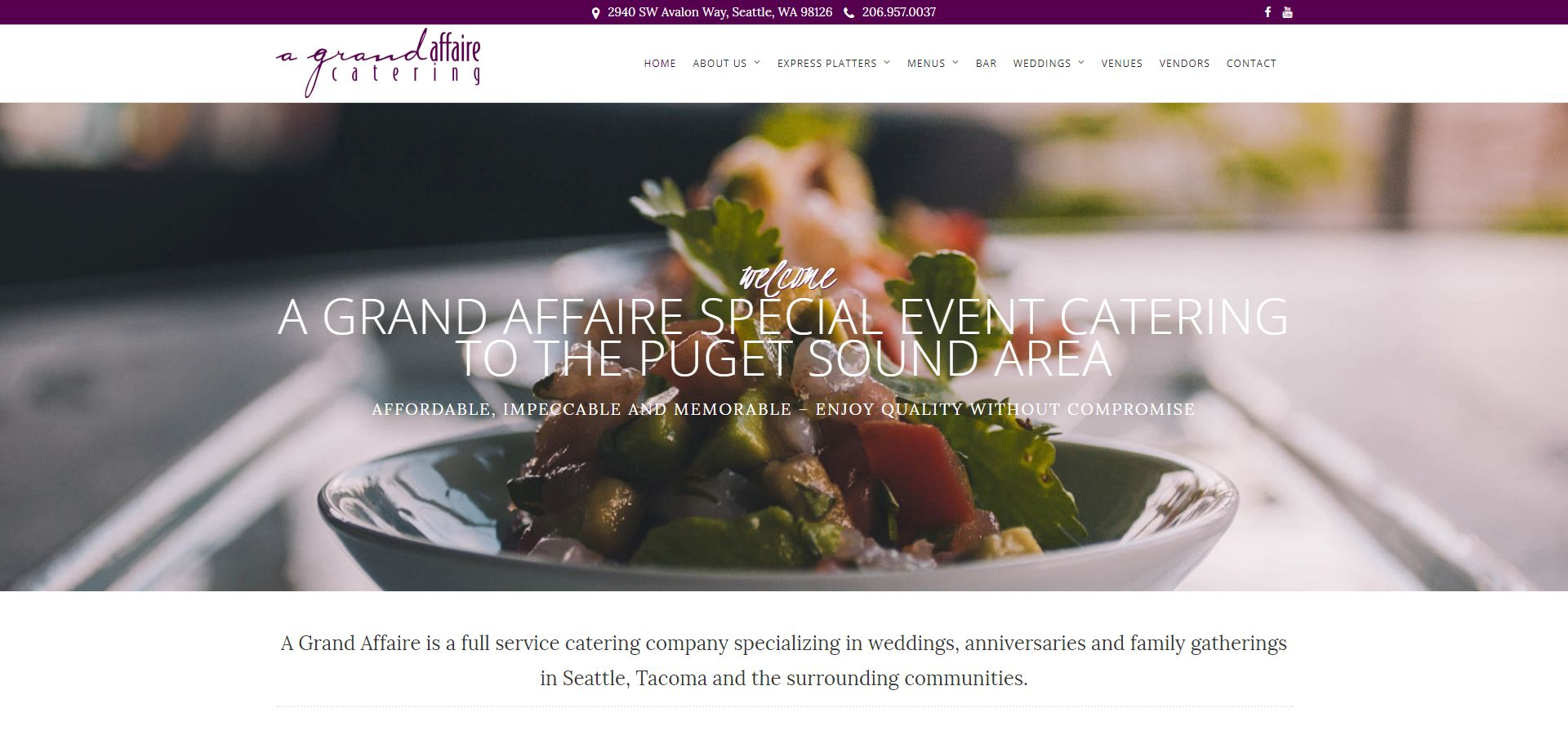 A Grand Affaire Catering website by Webcami