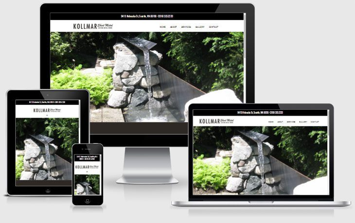 Kollmar Sheet Metal website displayed on different screen sizes