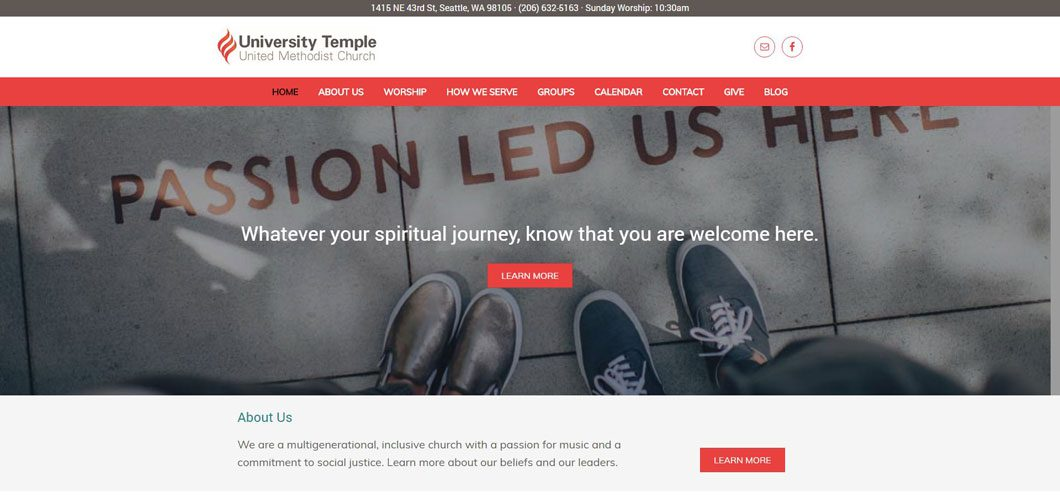 University Temple United Methodist Church website by Webcami