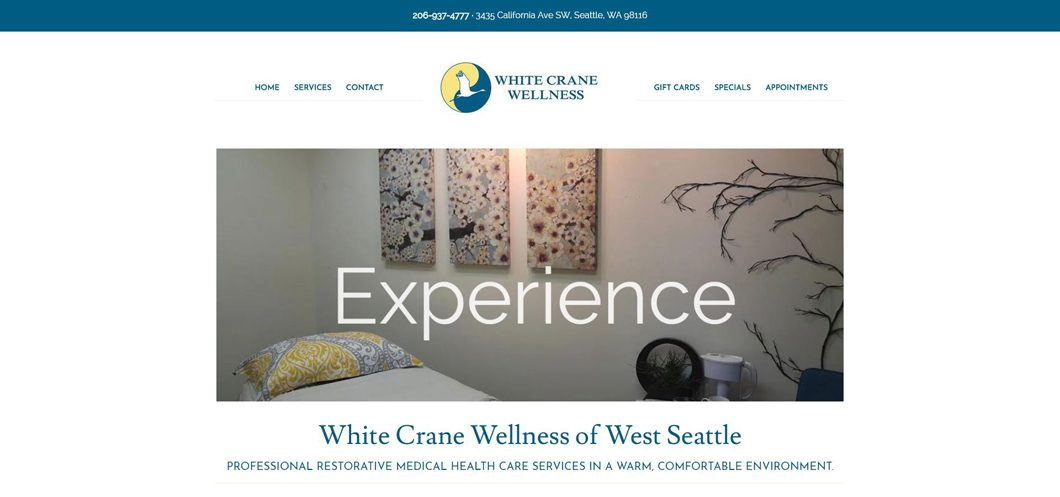 White Crane Wellness website by Webcami