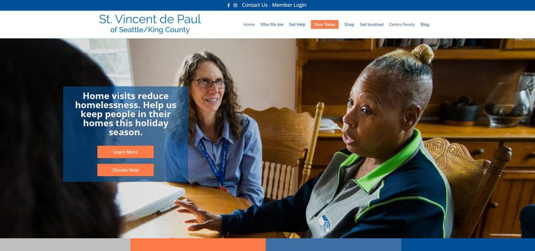 SVdP Seattle/King County website screenshot