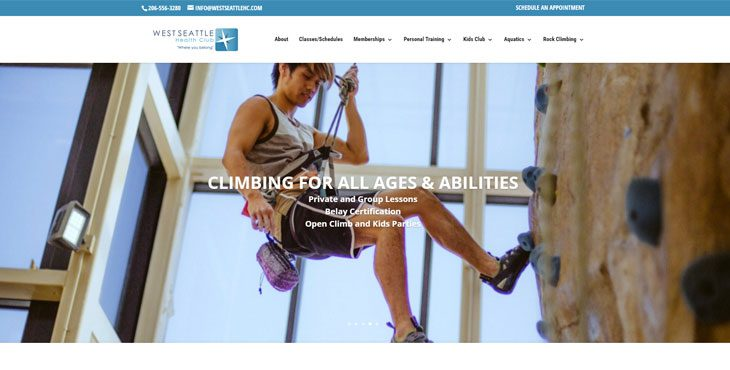 Image of West Seattle Health Club website by Webcami