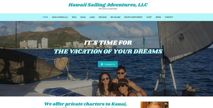 Hawaii Sailing Adventures website by Webcami