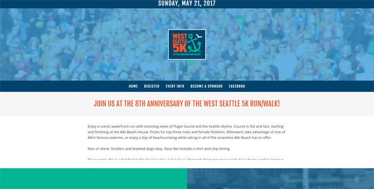 West Seattle 5 K website designed by Cami MacNamara