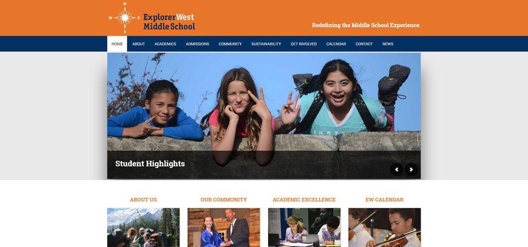 Explorer West Middle School website by Webcami