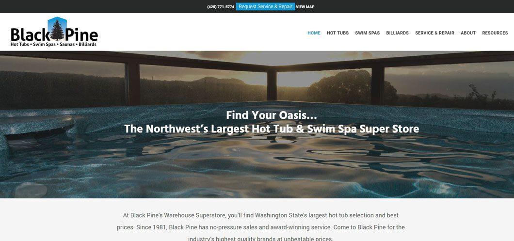 A view of Black Pine Spas website by WebCami