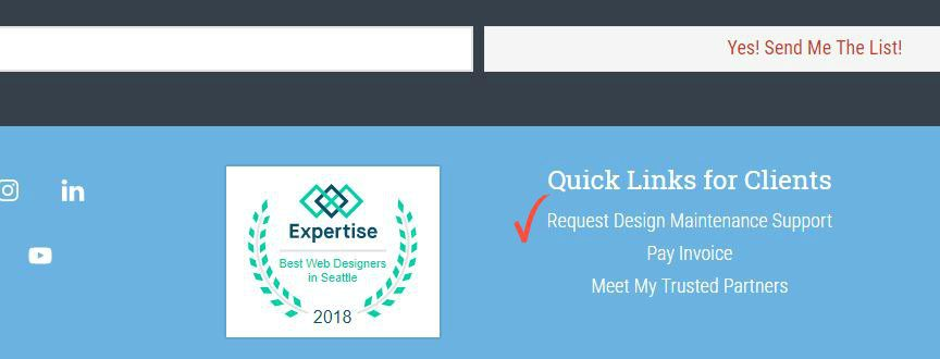 Example of footer link for maintenance request at WebCami Site Design