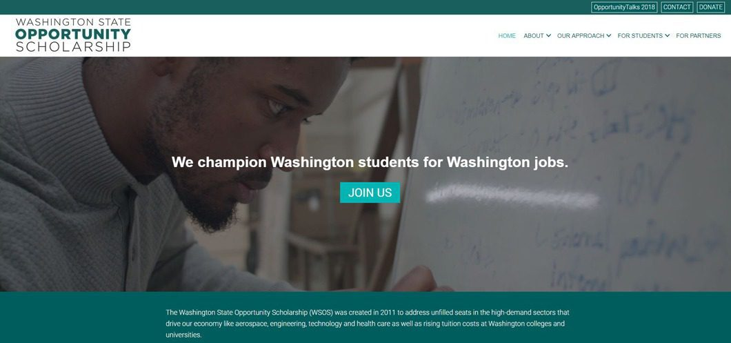 Washington State Opportunity Scholarship website by WebCami