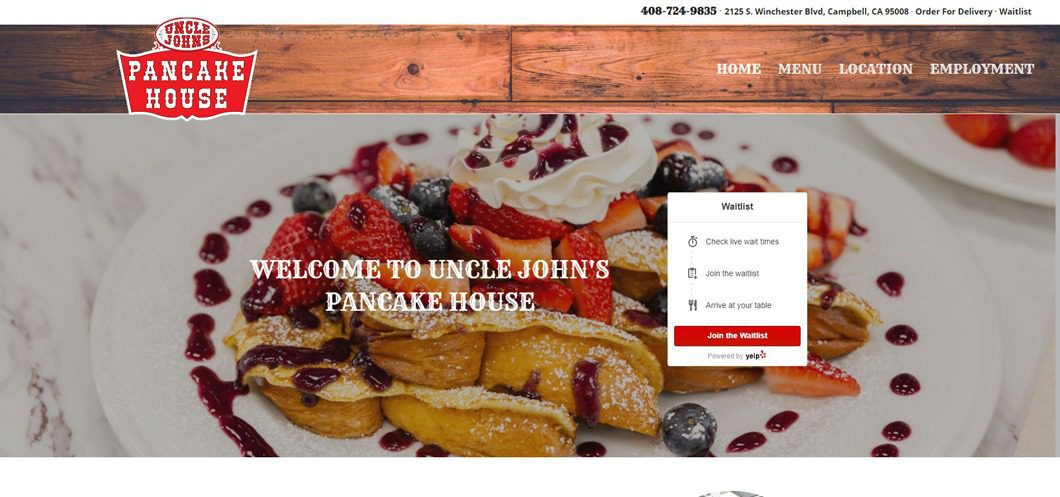 California restaurant website by WebCami Site Design