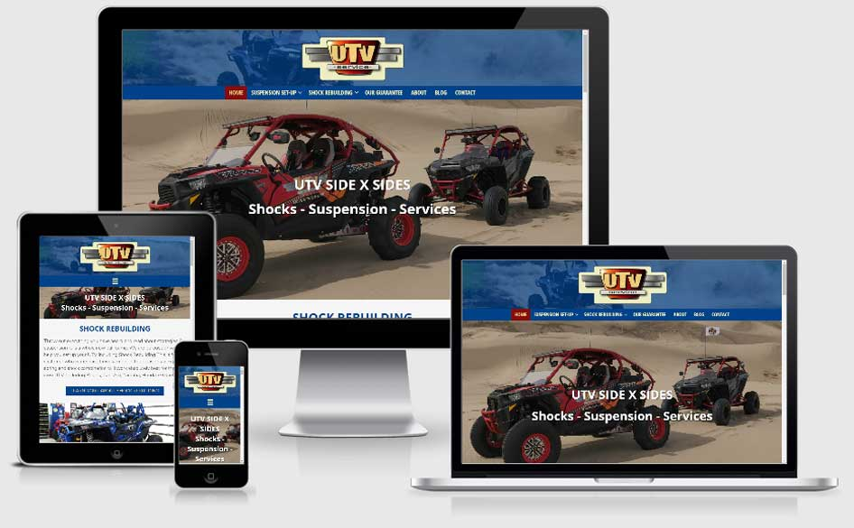Responsive views of UTV Service Website