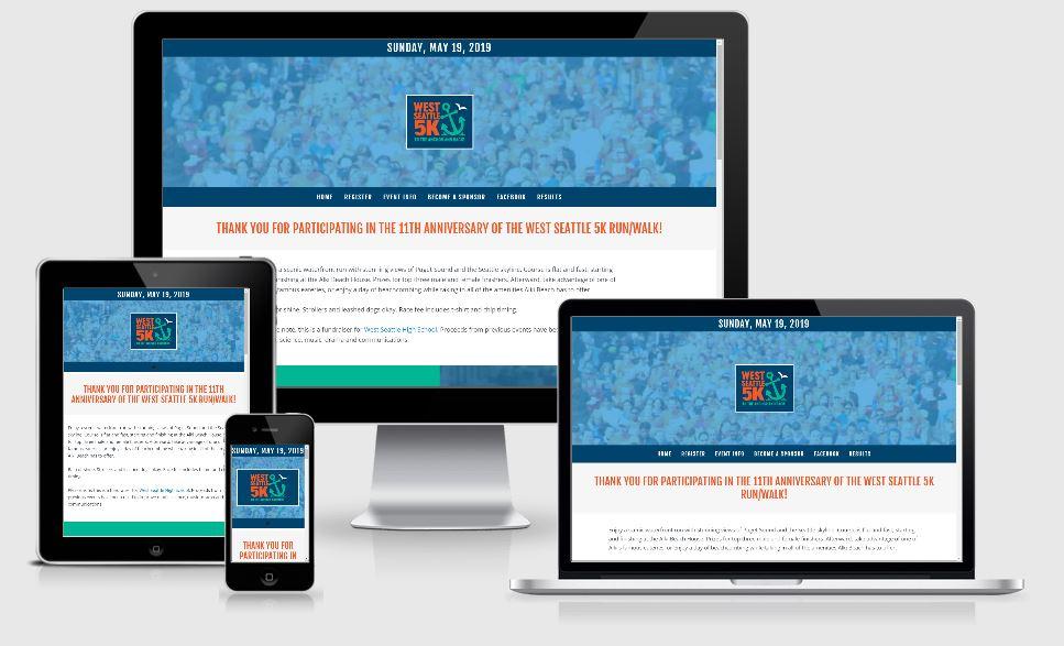Responsive view of West Seattle 5K website