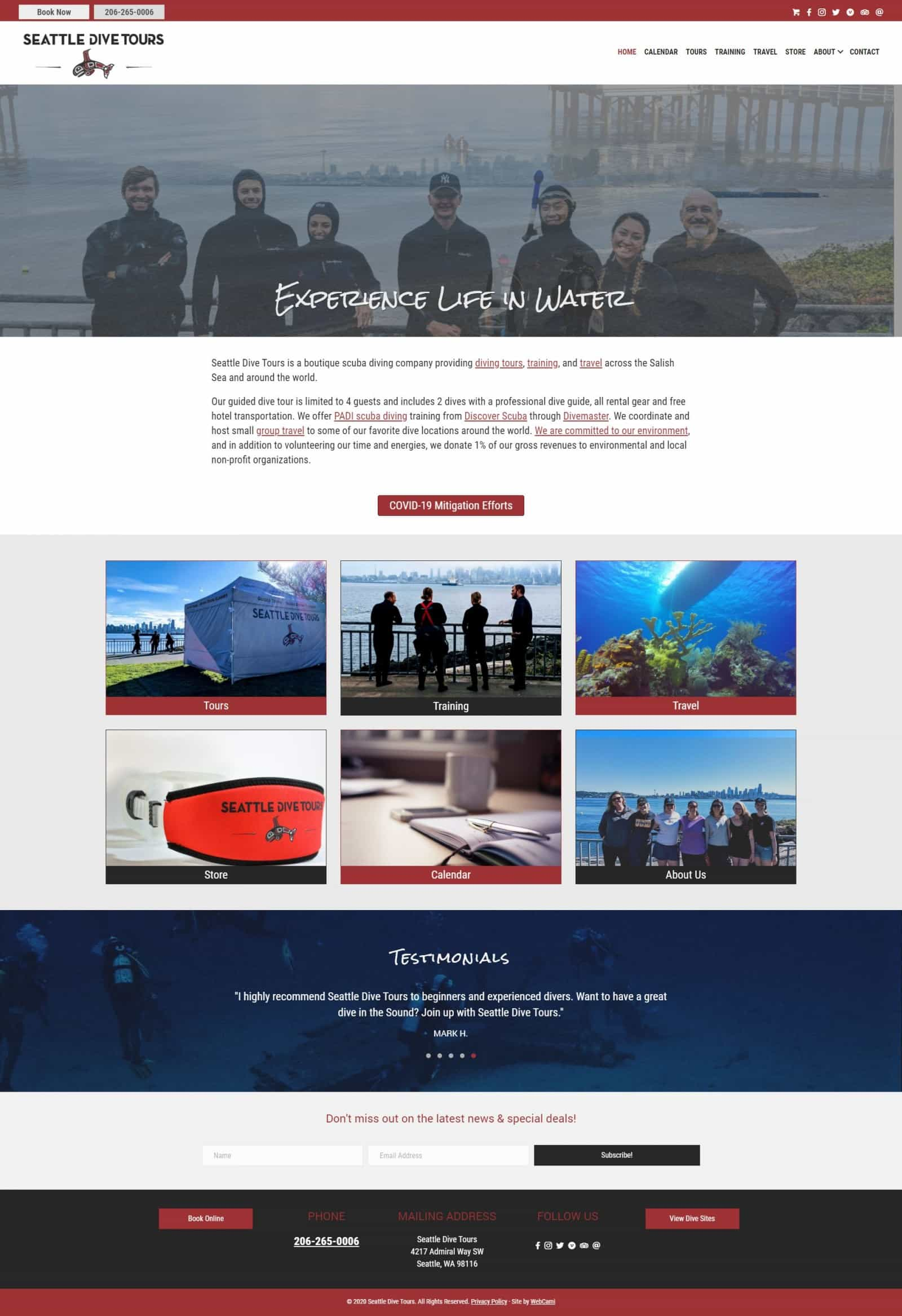 Full view of Seattle Dive Tours new website by WebCami