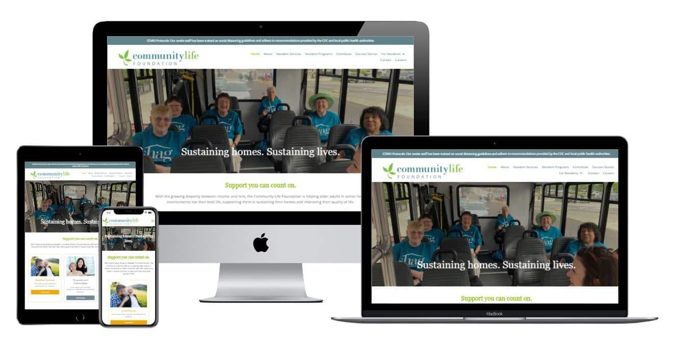 Community Life Foundation website responsive views