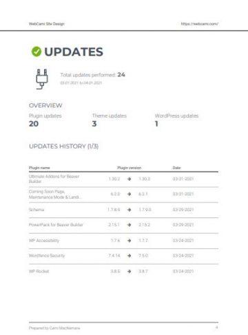 webcami care plan report updates