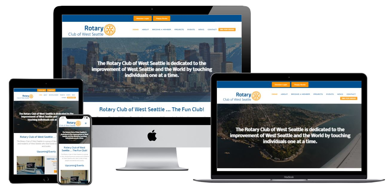 West Seattle Rotary Website Responsive View