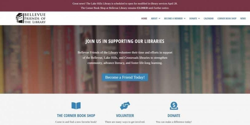 Bellevue Friends of the Library website by WebCami