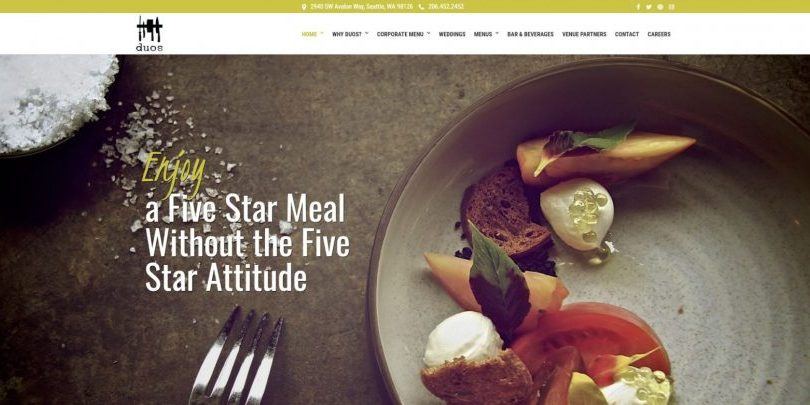 Duos Catering Website by WebCami