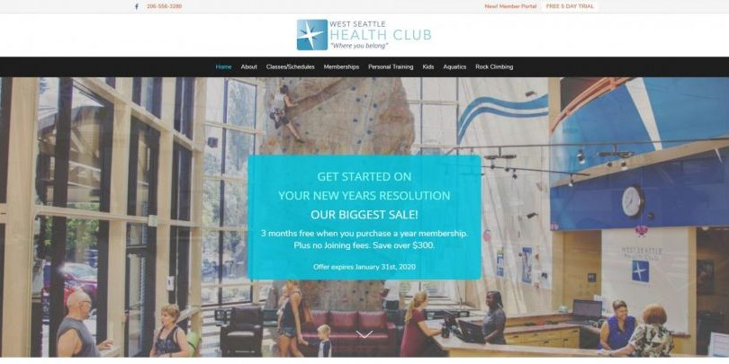 Health club website design Seattle