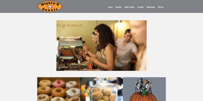 Mighty-O Donuts website by WebCami Site Design