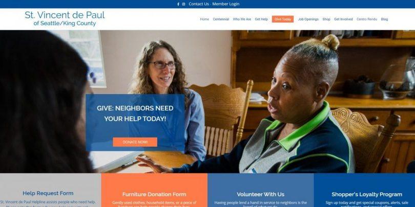 SVdP Seattle website design by WebCami