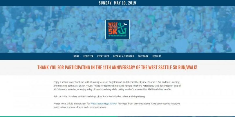 West Seattle 5K website by WebCami