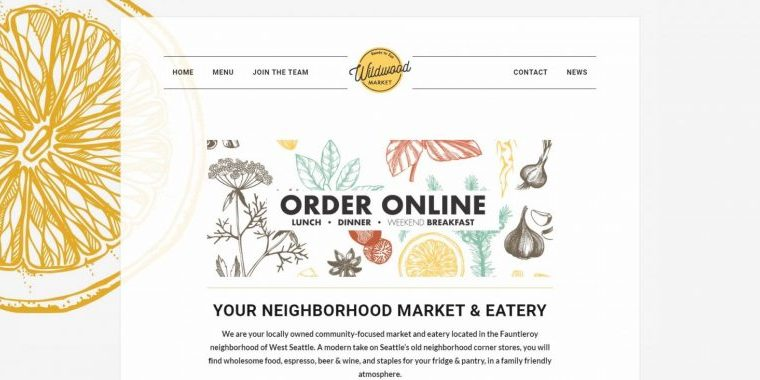 Wildwood Market West Seattle Website by WebCami